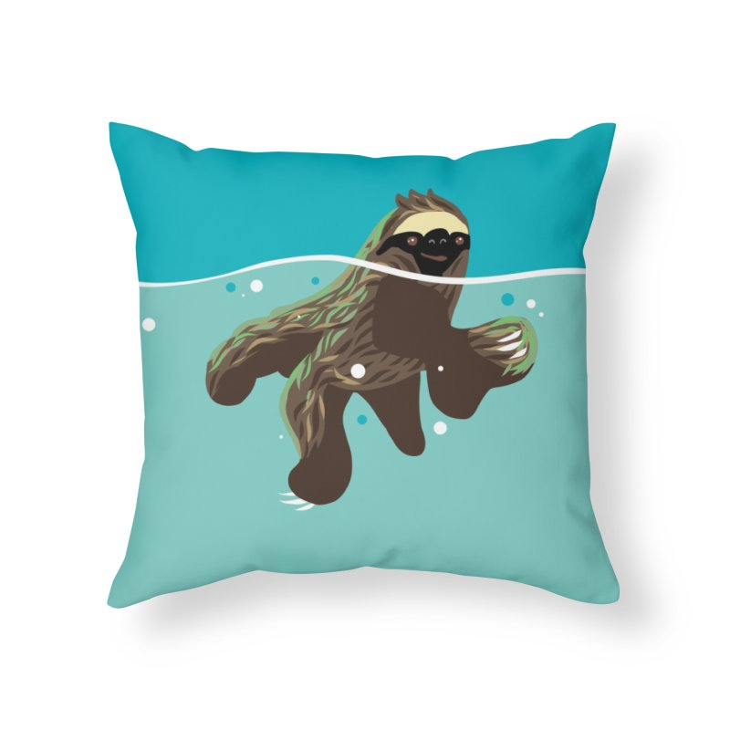 Swimming Sloth Home Throw Pillow by LAURA SANDERS