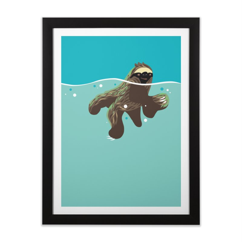 Swimming Sloth Home Framed Fine Art Print by LAURA SANDERS