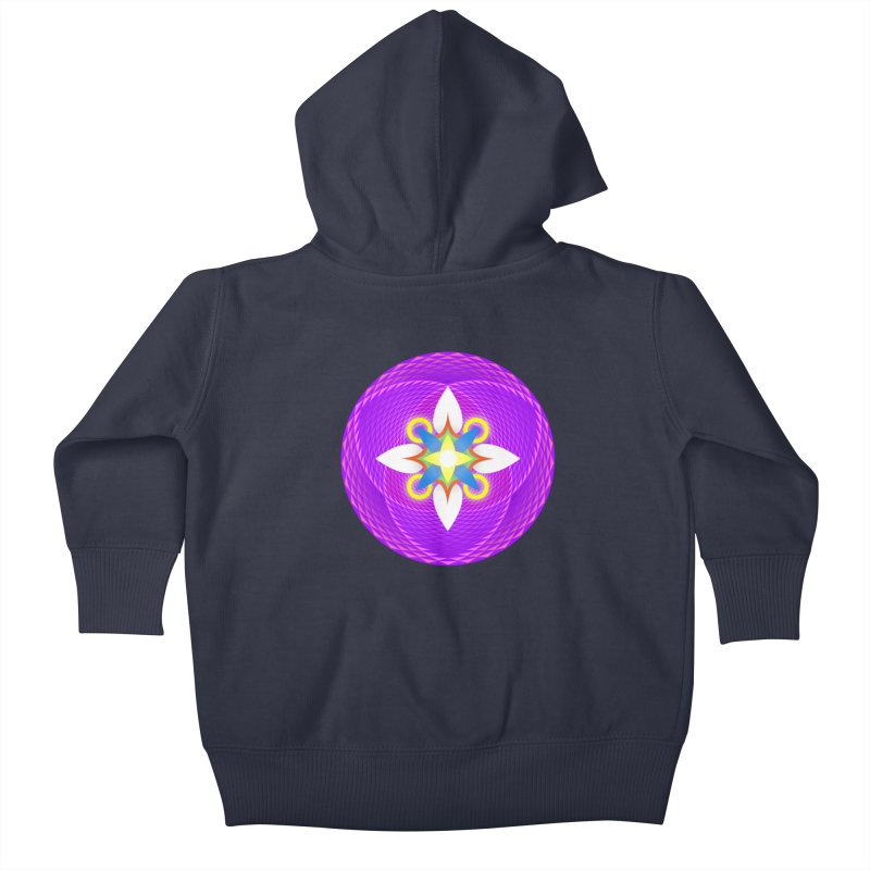 Flower in the space of meditation Kids Baby Zip-Up Hoody by Universe Deep Inside