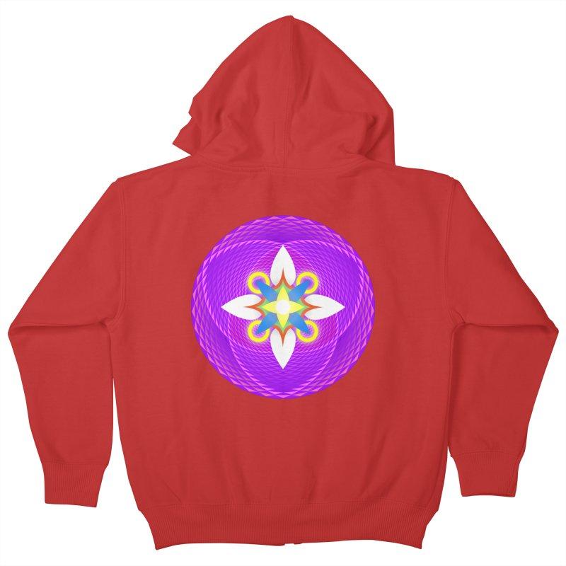 Flower in the space of meditation Kids Zip-Up Hoody by Universe Deep Inside