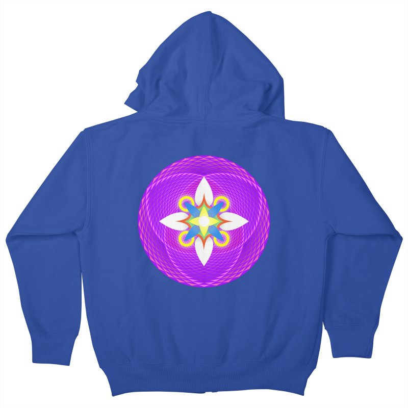 Flower in the space of meditation Kids Zip-Up Hoody by Universe Deep Inside