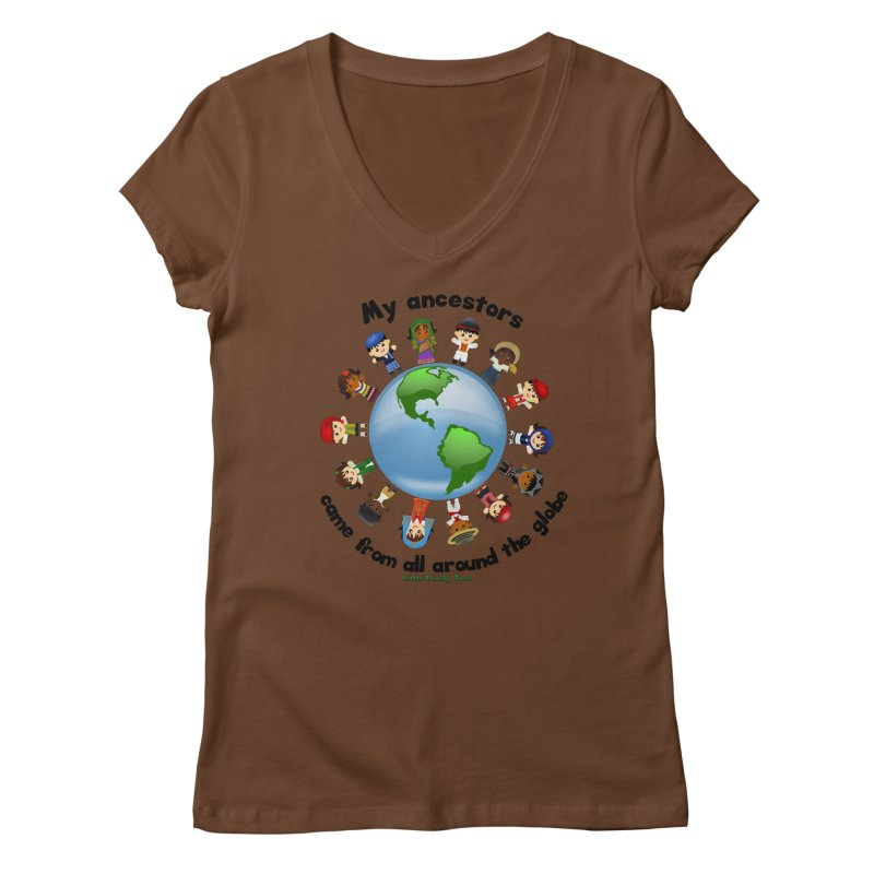 Global Ancestors with words Women's V-Neck by Yellow Fork Tech's Shop