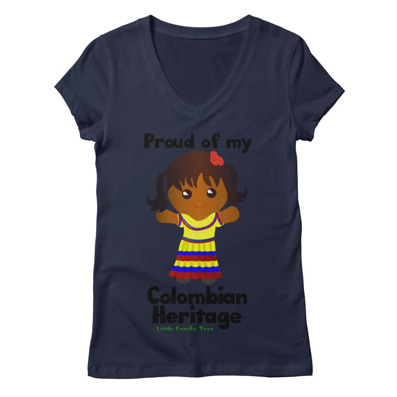 Colombian Heritage Girl Women's V-Neck by Yellow Fork Tech's Shop