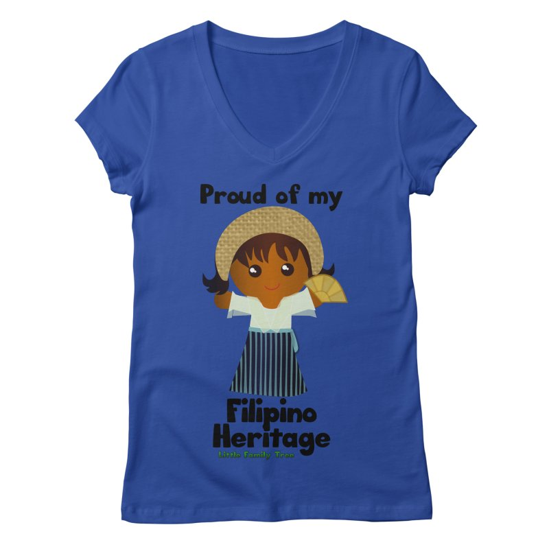 Filipino Heritage Girl Women's V-Neck by Yellow Fork Tech's Shop