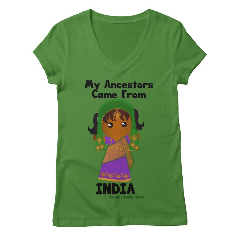 India Ancestors Girl Women's V-Neck by Yellow Fork Tech's Shop