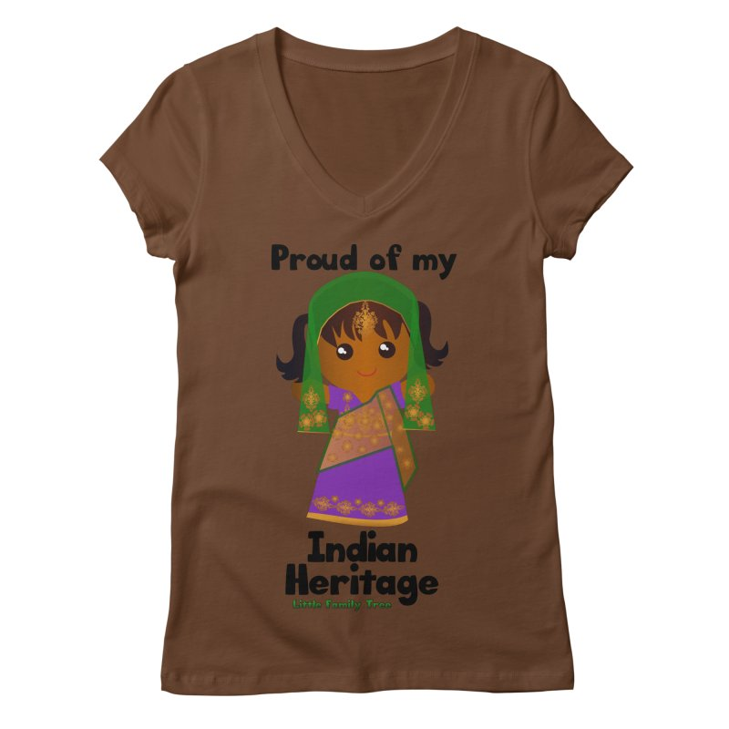 Indian Heritage Girl Women's V-Neck by Yellow Fork Tech's Shop