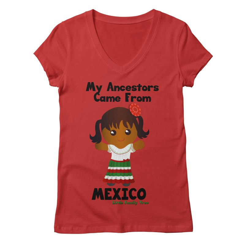 Mexico Ancestors Girl Women's V-Neck by Yellow Fork Tech's Shop