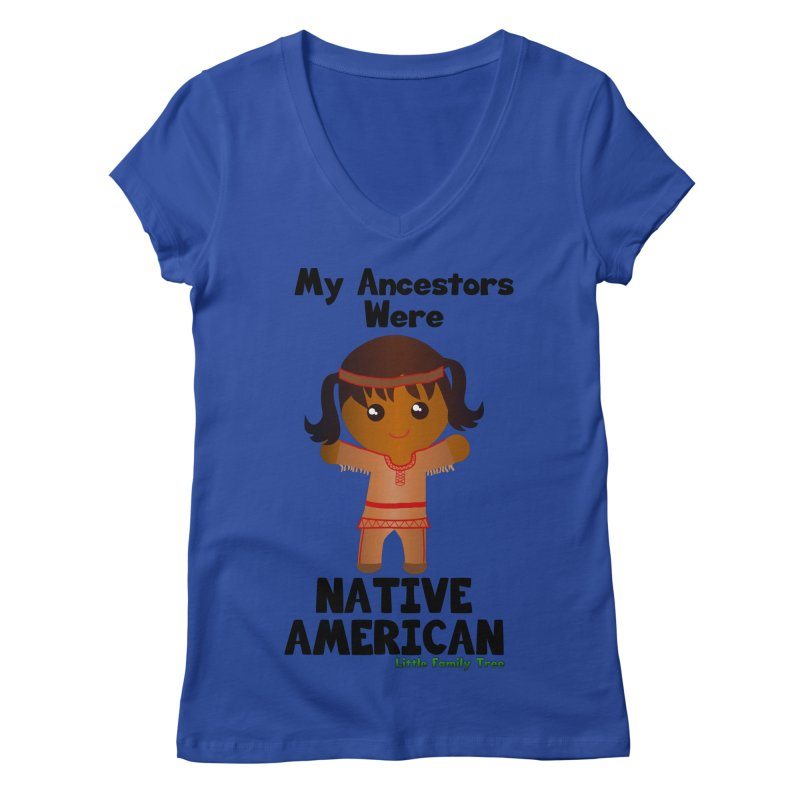 Native American Ancestors Girl Women's V-Neck by Yellow Fork Tech's Shop