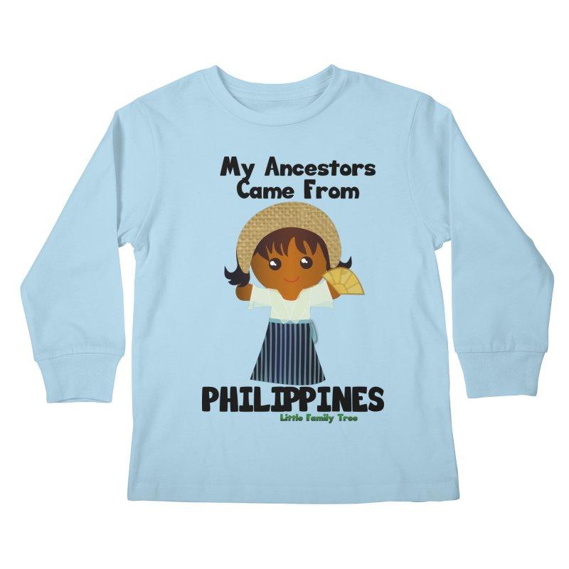 Philippines Ancestors Girl Kids Longsleeve T-Shirt by Yellow Fork Tech's Shop