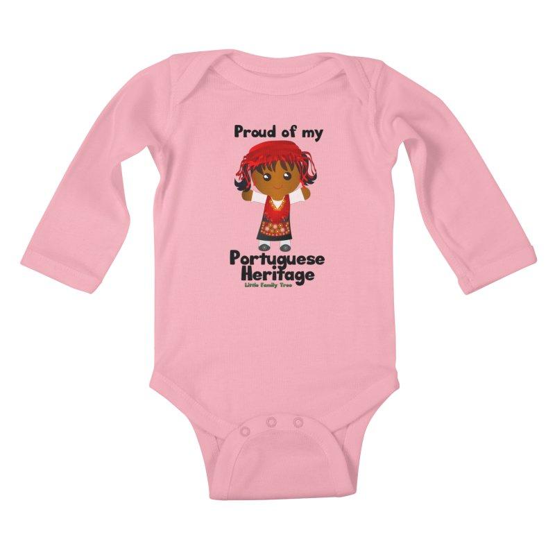 Portuguese Heritage Girl Kids Baby Longsleeve Bodysuit by Yellow Fork Tech's Shop