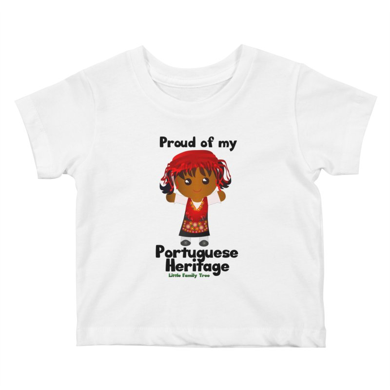 Portuguese Heritage Girl Kids Baby T-Shirt by Yellow Fork Tech's Shop