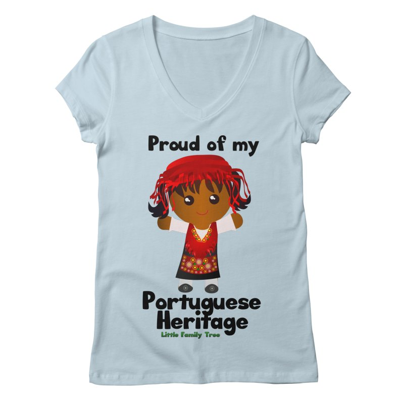 Portuguese Heritage Girl Women's V-Neck by Yellow Fork Tech's Shop