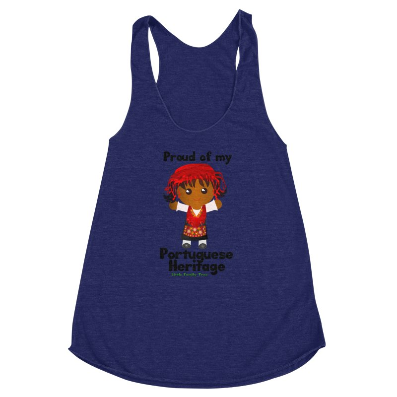 Portuguese Heritage Girl Women's Racerback Triblend Tank by Yellow Fork Tech's Shop