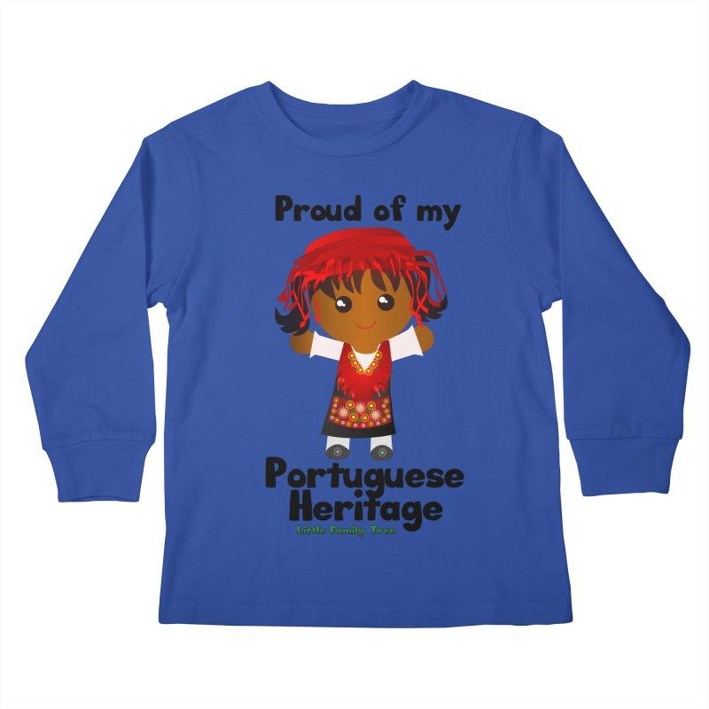 Portuguese Heritage Girl Kids Longsleeve T-Shirt by Yellow Fork Tech's Shop