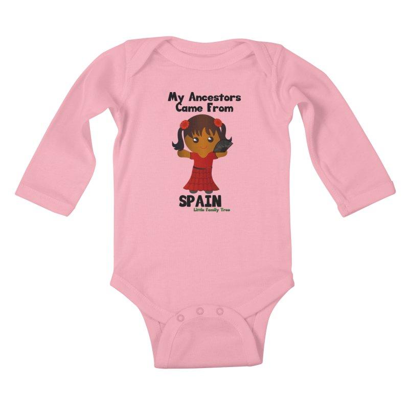 Spain Ancestors Girl Kids Baby Longsleeve Bodysuit by Yellow Fork Tech's Shop