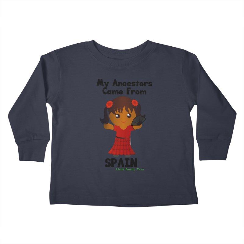 Spain Ancestors Girl Kids Toddler Longsleeve T-Shirt by Yellow Fork Tech's Shop
