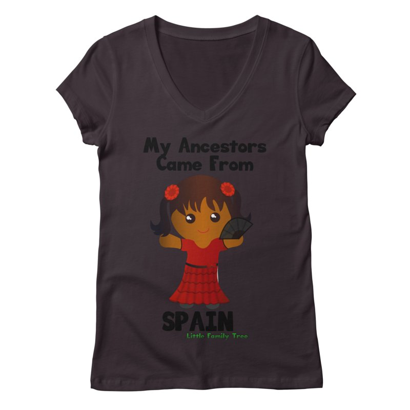 Spain Ancestors Girl Women's V-Neck by Yellow Fork Tech's Shop