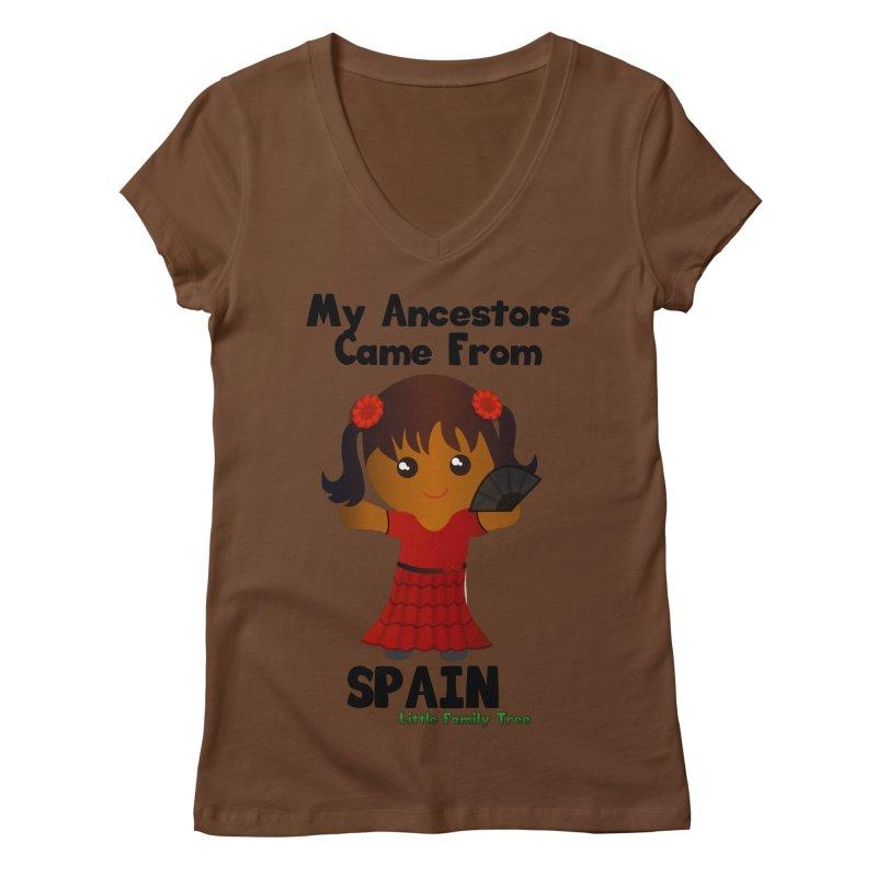 Spain Ancestors Girl Women's V-Neck by Yellow Fork Tech's Shop