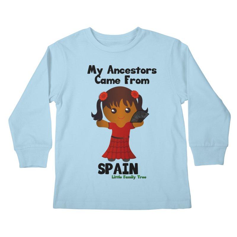 Spain Ancestors Girl Kids Longsleeve T-Shirt by Yellow Fork Tech's Shop