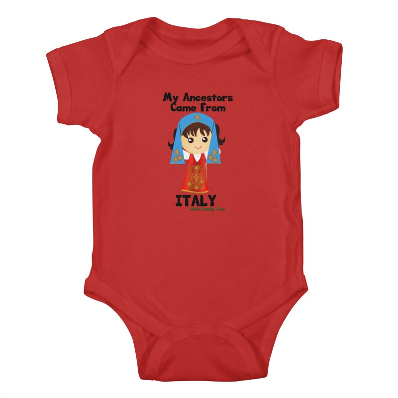 Italy Ancestors Girl Kids Baby Bodysuit by Yellow Fork Tech's Shop
