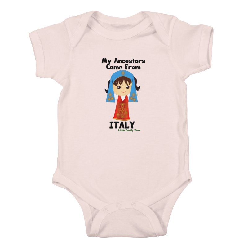 Italy Ancestors Girl Kids Baby Bodysuit by Yellow Fork Tech's Shop