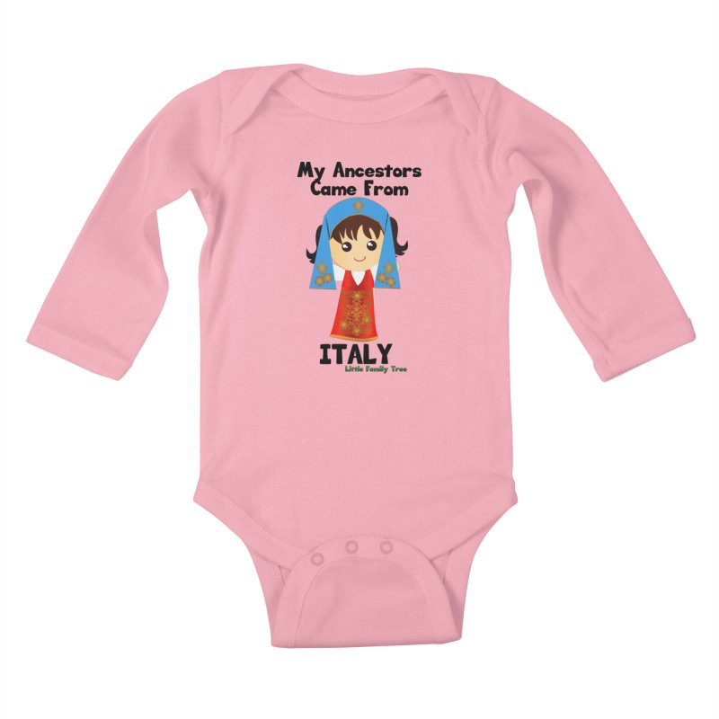 Italy Ancestors Girl Kids Baby Longsleeve Bodysuit by Yellow Fork Tech's Shop