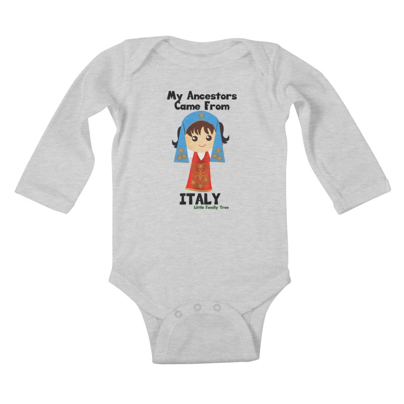 Italy Ancestors Girl Kids Baby Longsleeve Bodysuit by Yellow Fork Tech's Shop