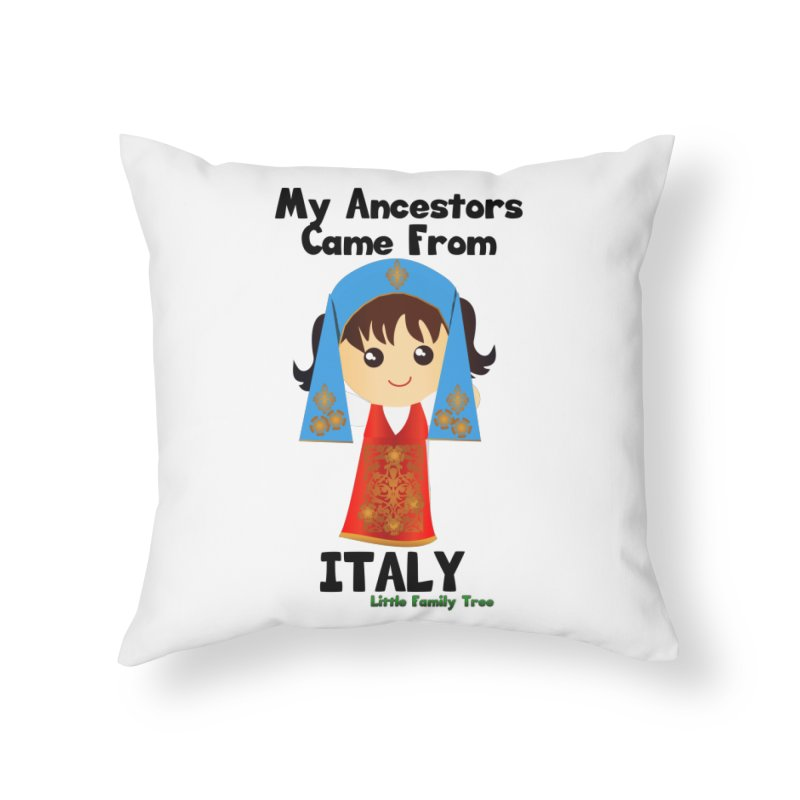 Italy Ancestors Girl Home Throw Pillow by Yellow Fork Tech's Shop