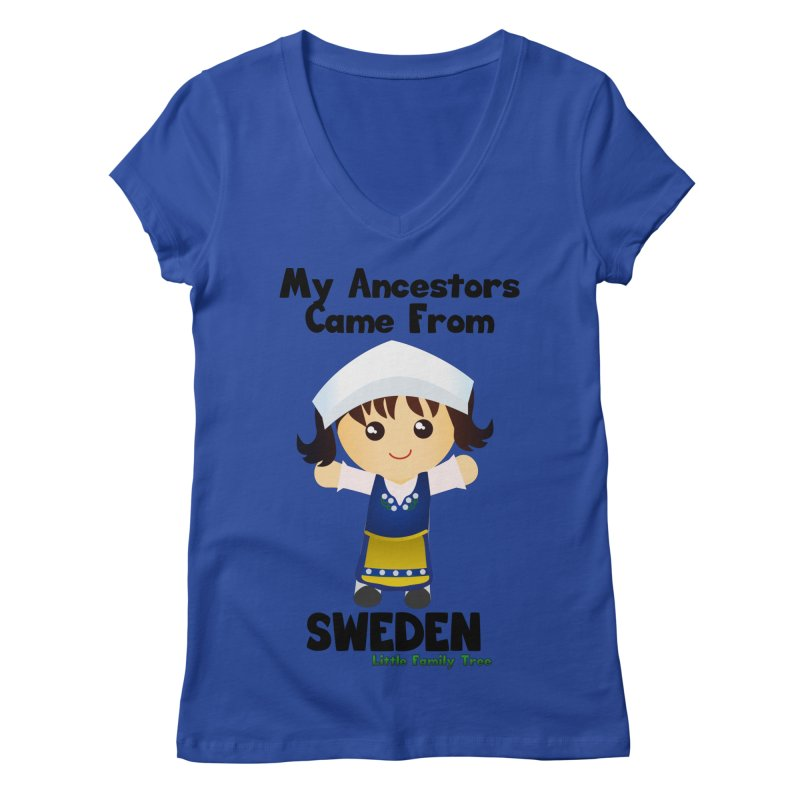 Sweden Ancestors Girl Women's V-Neck by Yellow Fork Tech's Shop