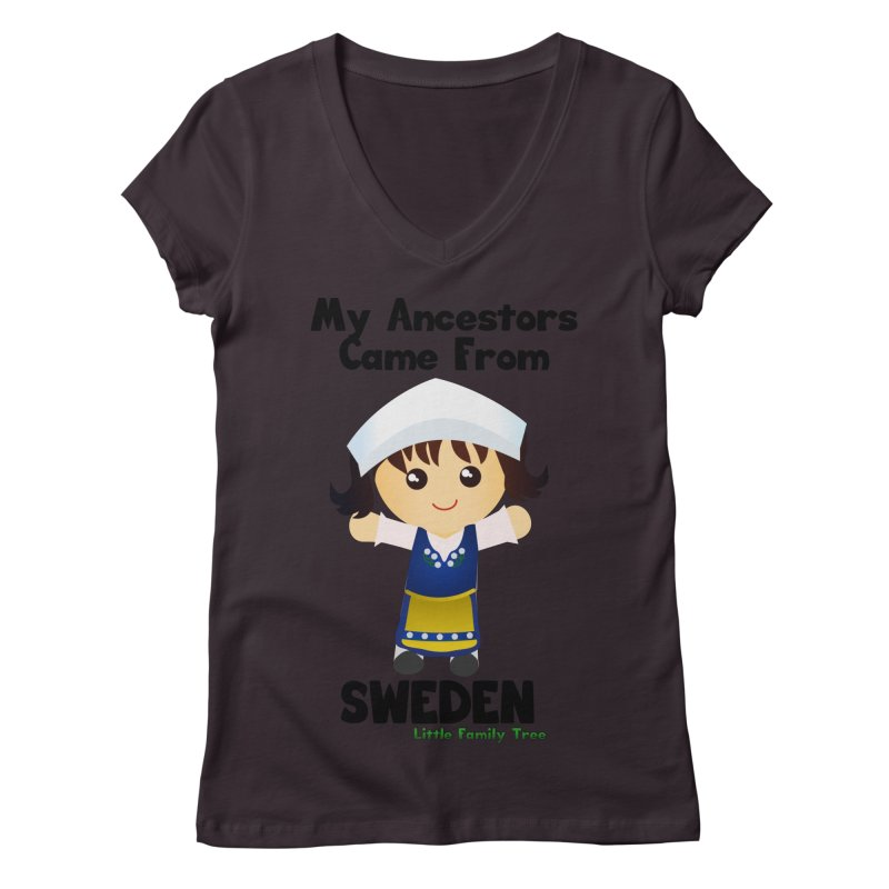Sweden Ancestors Girl Women's V-Neck by Yellow Fork Tech's Shop