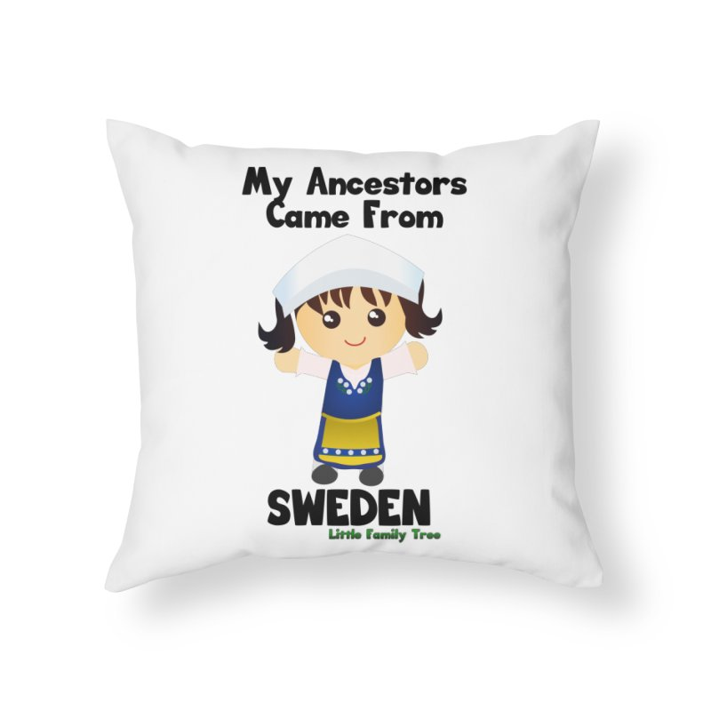 Sweden Ancestors Girl Home Throw Pillow by Yellow Fork Tech's Shop
