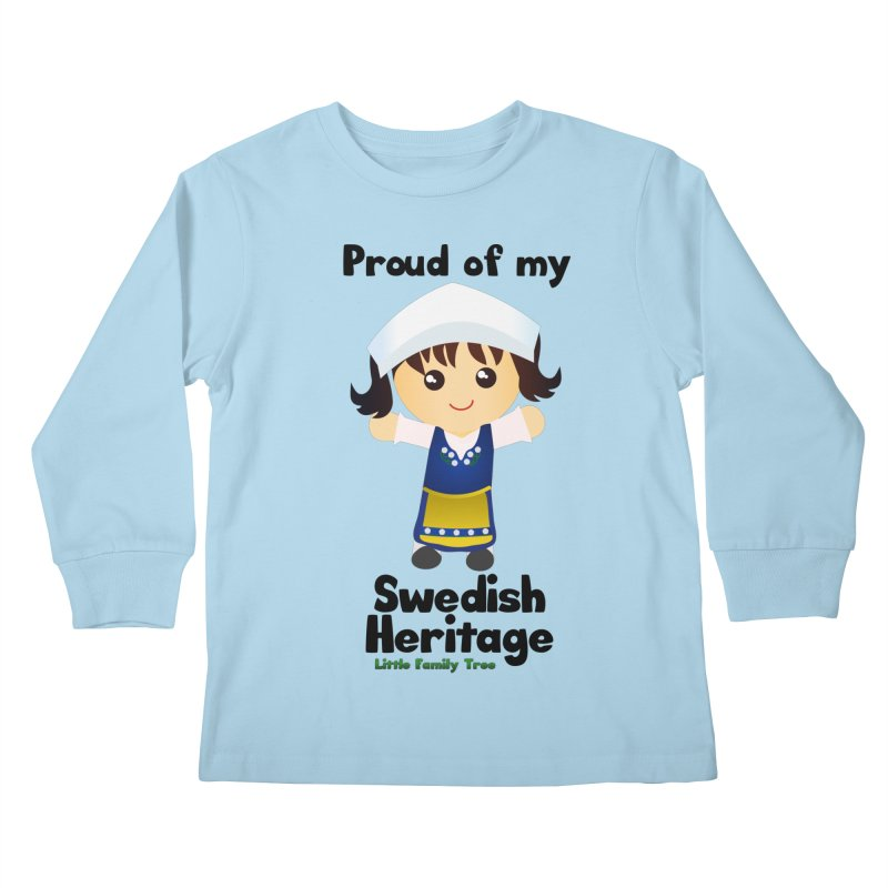 Swedish Heritage Girl Kids Longsleeve T-Shirt by Yellow Fork Tech's Shop