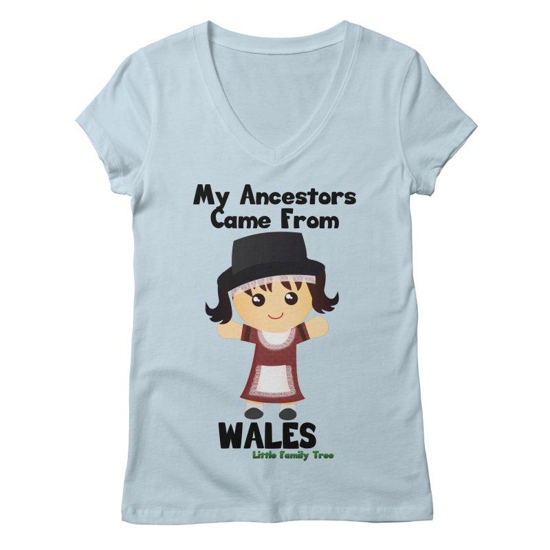 Wales Ancestors Girl Women's V-Neck by Yellow Fork Tech's Shop
