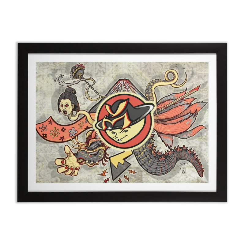 YM Japanese Tails Home Framed Fine Art Print by YellowMenace Shop