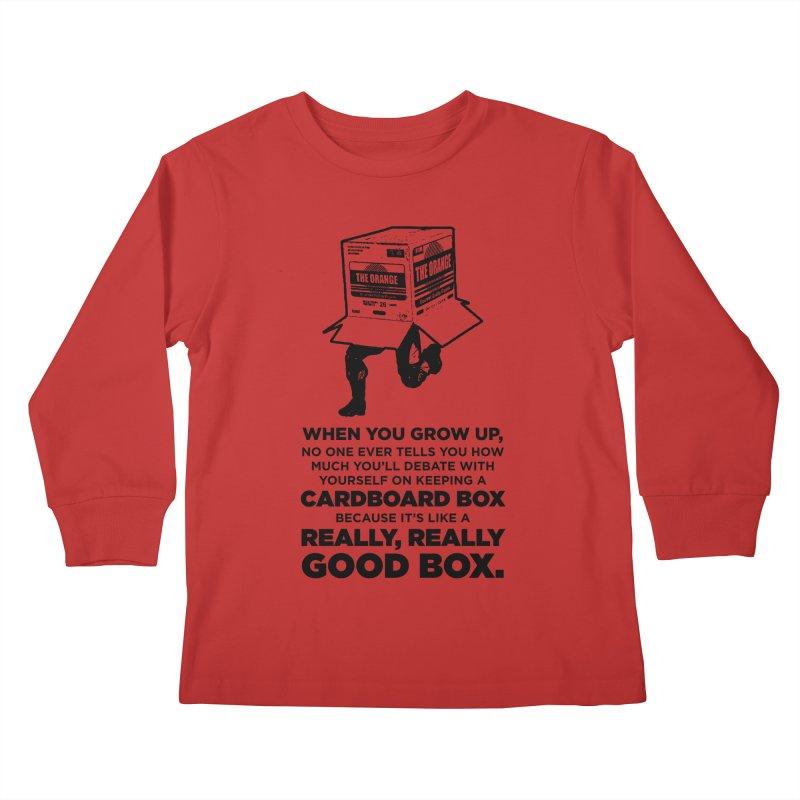 Adulting with Boxes Kids Longsleeve T-Shirt by The Yellowrant Artist Shop