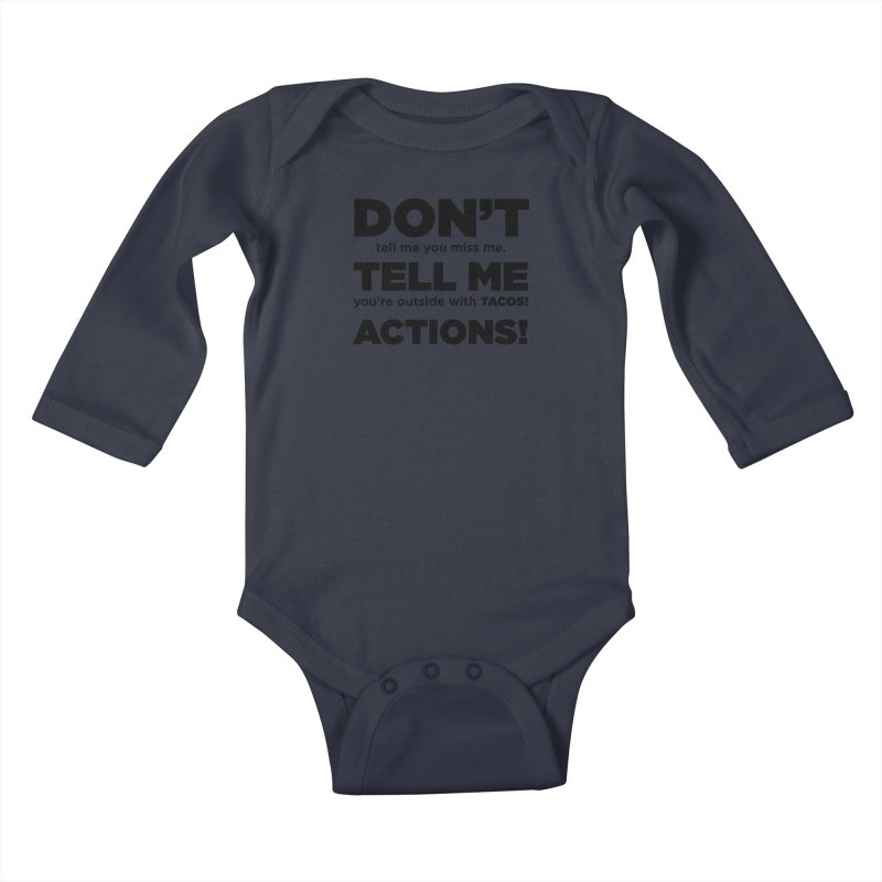 Don't Tell Me (black) Kids Baby Longsleeve Bodysuit by The Yellowrant Artist Shop