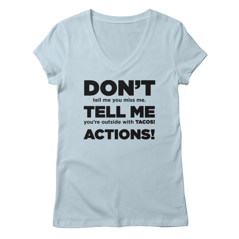 Don't Tell Me (black) Women's V-Neck by The Yellowrant Artist Shop