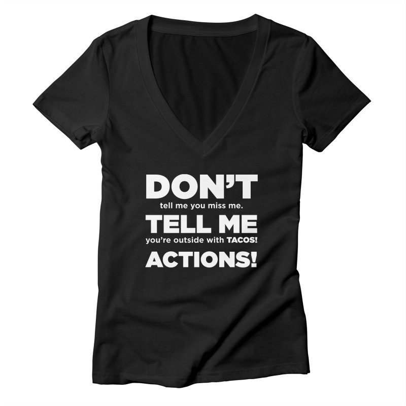 Don't Tell Me (white) Women's V-Neck by The Yellowrant Artist Shop
