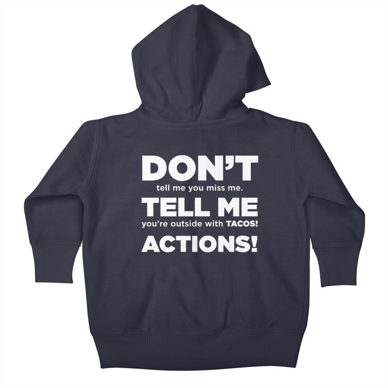 Don't Tell Me (white) Kids Baby Zip-Up Hoody by The Yellowrant Artist Shop