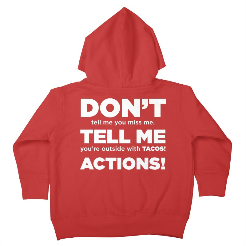 Don't Tell Me (white) Kids Toddler Zip-Up Hoody by The Yellowrant Artist Shop