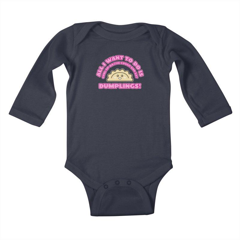 Dumpling Curl Kids Baby Longsleeve Bodysuit by The Yellowrant Artist Shop