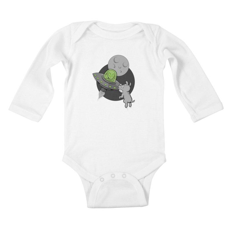 UFF - Unidentified Flying Frisbie Kids Baby Longsleeve Bodysuit by YiannZ's Artist Shop