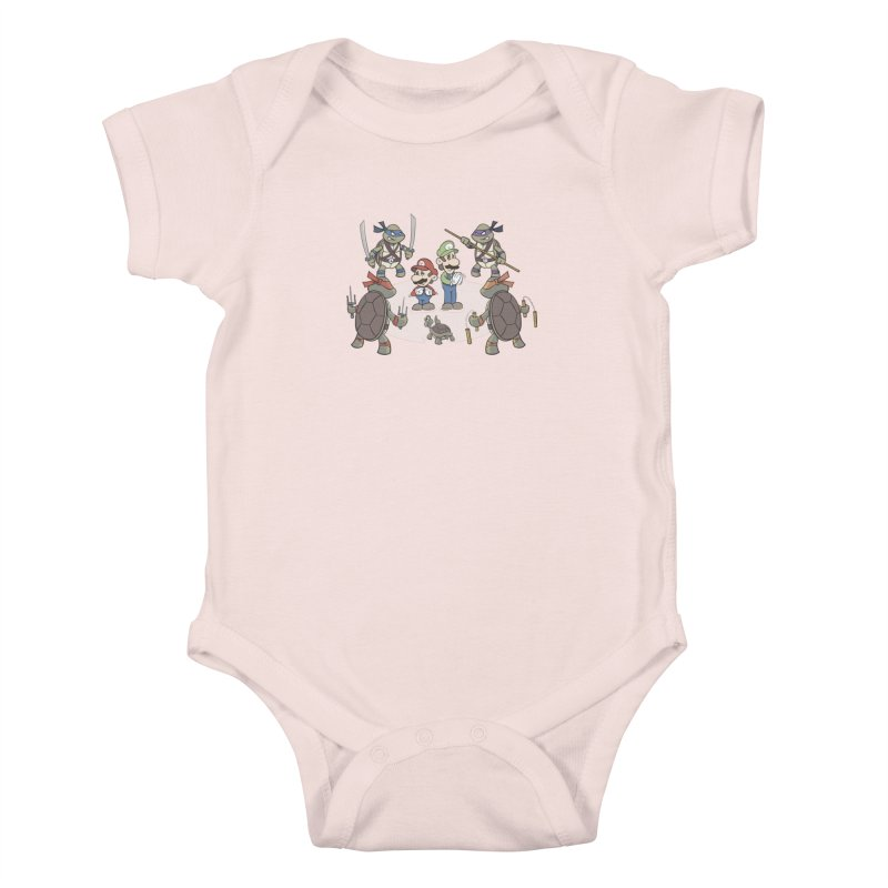 Super Mario Bros VS TMNT Kids Baby Bodysuit by YiannZ's Artist Shop