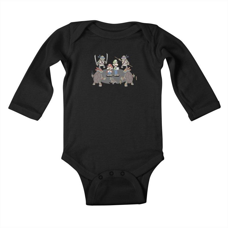 Super Mario Bros VS TMNT Kids Baby Longsleeve Bodysuit by YiannZ's Artist Shop