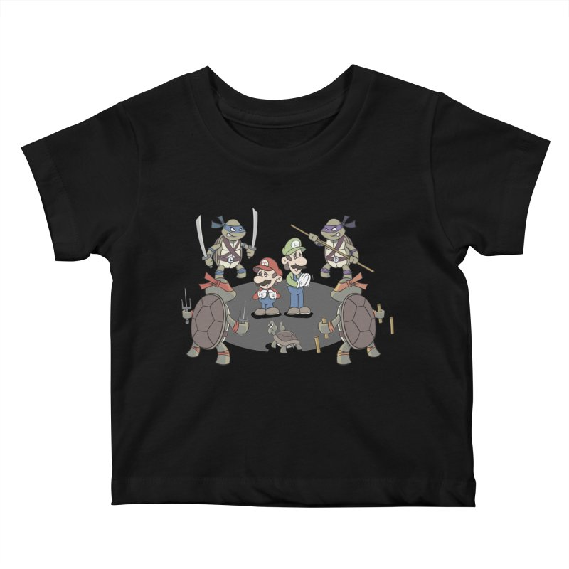 Super Mario Bros VS TMNT Kids Baby T-Shirt by YiannZ's Artist Shop
