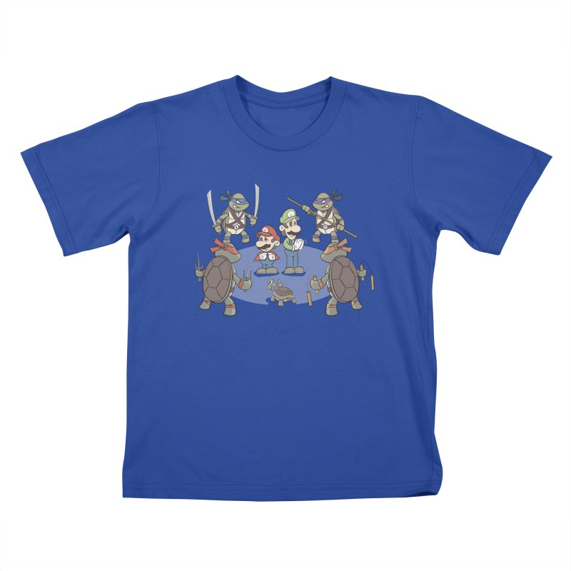 Super Mario Bros VS TMNT Kids T-Shirt by YiannZ's Artist Shop