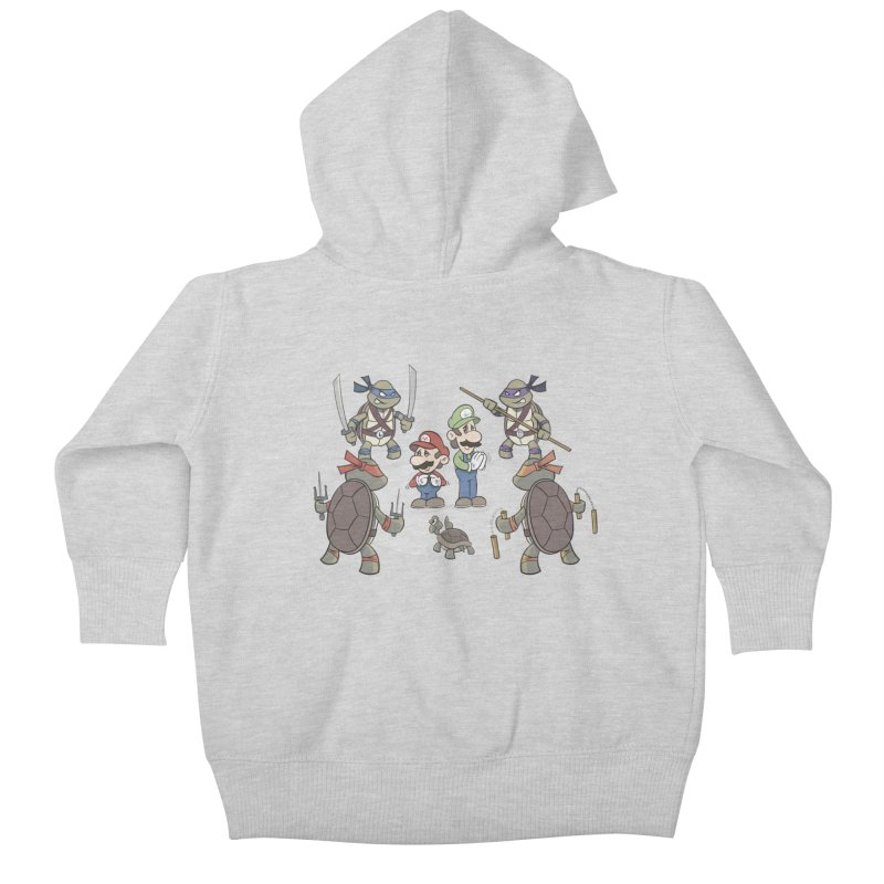 Super Mario Bros VS TMNT Kids Baby Zip-Up Hoody by YiannZ's Artist Shop