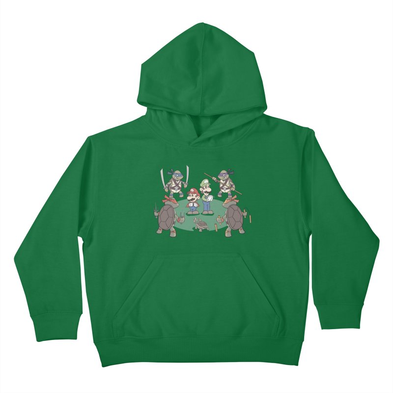 Super Mario Bros VS TMNT Kids Pullover Hoody by YiannZ's Artist Shop