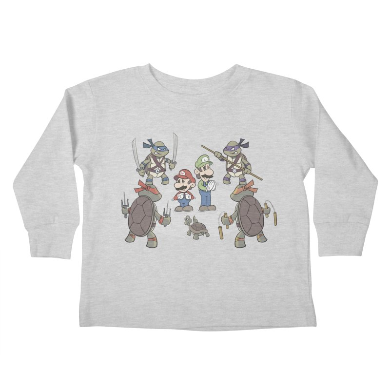 Super Mario Bros VS TMNT Kids Toddler Longsleeve T-Shirt by YiannZ's Artist Shop