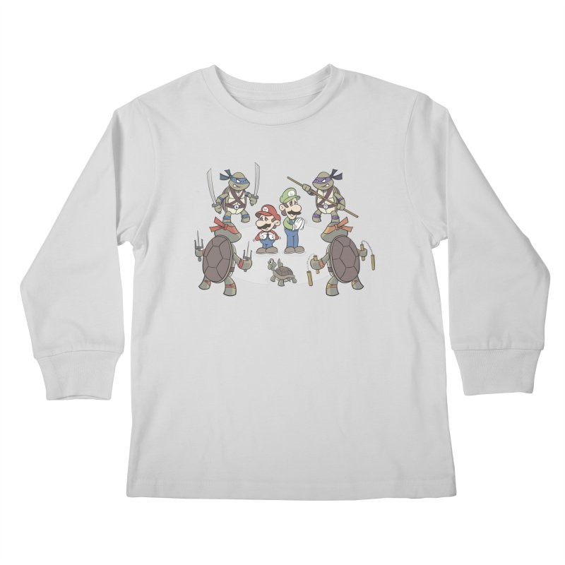 Super Mario Bros VS TMNT Kids Longsleeve T-Shirt by YiannZ's Artist Shop